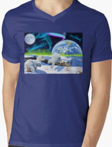 Three Playful Polar Bear Cubs & Aurora Earth Day Art Mens V-Neck T-Shirt