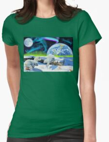 Three Playful Polar Bear Cubs & Aurora Earth Day Art Womens Fitted T-Shirt