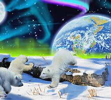 Three Playful Polar Bear Cubs & Aurora Earth Day Art by Skye Ryan-Evans