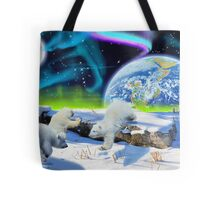 Three Playful Polar Bear Cubs & Aurora Earth Day Art Tote Bag