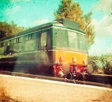 Vintage Diesel Train by Sharonroseart