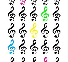 Colorful Treble Clefs by ValeriesGallery
