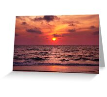 Tropical Sunset Beach Greeting Card