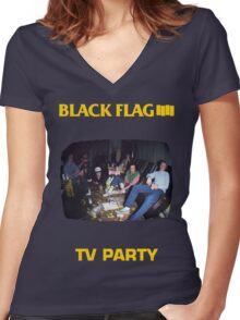 Black Flag - TV Party Women's Fitted V-Neck T-Shirt