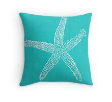 Aqua Blue with White Starfish Throw Pillow