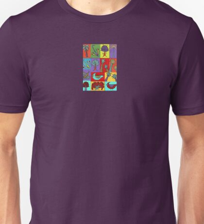 Block quilt colorful trees and bugs and birds Unisex T-Shirt