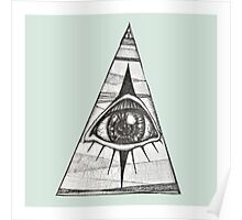 All Seeing Eye Green Background Poster
