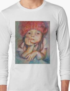 Red Hat - Portrait Of A Girl Long Sleeve T-Shirt