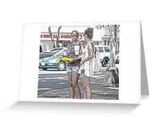 The girl with the mirror glasses Greeting Card