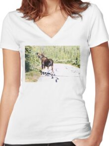 Bull Moose Munching in The Road Women's Fitted V-Neck T-Shirt