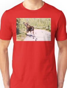 Bull Moose Munching in The Road Unisex T-Shirt