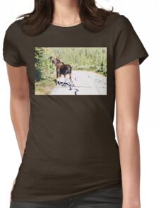 Bull Moose Munching in The Road Womens Fitted T-Shirt