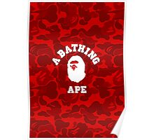 BATHING APE RED CAMO Poster