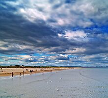 Summer Clouds At St.Andrews Beach, Scotland. by Aj Finan