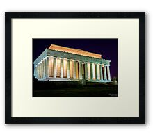 Lincoln Monument in Washington DC at Night photo Framed Print