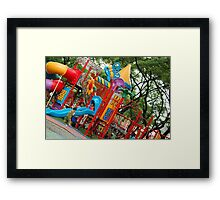 Quezon Memorial Circle activity: kids playing 33 Framed Print