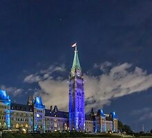Canada's Parliament buildings at night - Ottawa, Canada by Josef Pittner