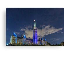 Canada's Parliament buildings at night - Ottawa, Canada Canvas Print