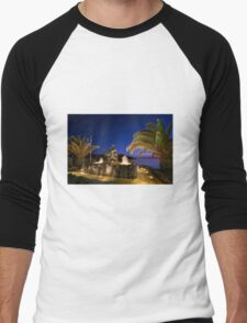 Mermaid illuminated at dusk, in Syros Greece Men's Baseball ¾ T-Shirt
