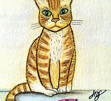 I Brought  You a Present - Watercolor & Ink Cat by JillPillDesign