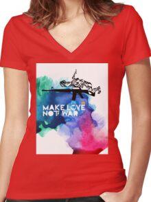 Make Love Not War M16 Women's Fitted V-Neck T-Shirt