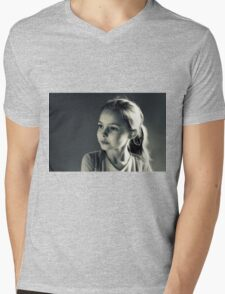 Portrait- Girl in Black & White Mens V-Neck T-Shirt