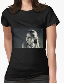 Portrait- Girl in Black & White Womens Fitted T-Shirt