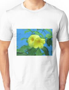 Blue Wall and Yellow Flowers Unisex T-Shirt