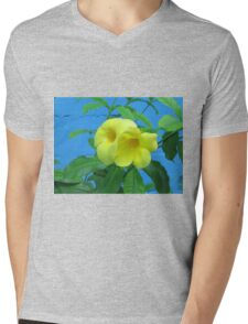 Blue Wall and Yellow Flowers Mens V-Neck T-Shirt