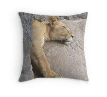 lion sleeping Throw Pillow