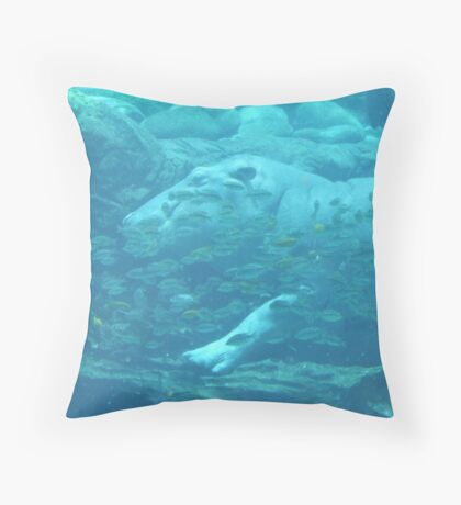 hippo sleeping with the fishes Throw Pillow