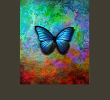 Butterfly on colorful iridescent background Womens Fitted T-Shirt