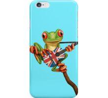 Tree Frog Playing Union Jack Guitar iPhone Case/Skin