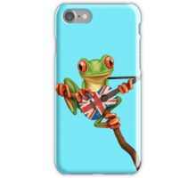 Tree Frog Playing Union Jack Guitar iPhone Case/Skin