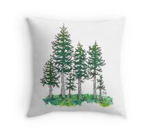 Watercolor and Ink Cypress Tree Throw Pillow