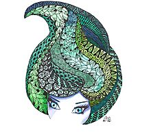 Zentangle and watercolor head Photographic Print