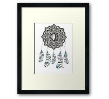 Watercolor and Ink dream catcher (blue) Framed Print