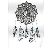 Watercolor and Ink dream catcher (blue) Poster