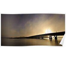 Sunrise of a bridge  Poster