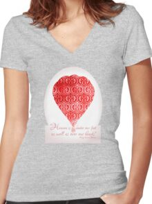 Red Hot Air Balloon Inspirational Literary Henry David Thoreau Quote Typography Art Print Women's Fitted V-Neck T-Shirt