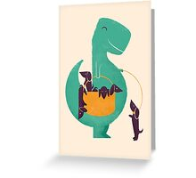 T-Rex and his Basketul of Wiener Dogs Greeting Card
