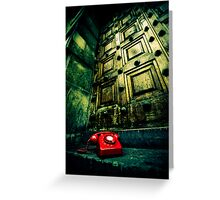 Retro red phone outside a spooky wooden door Greeting Card