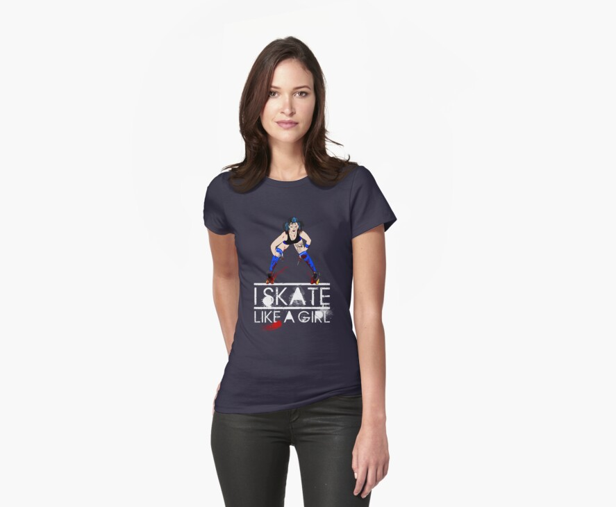 Blue Psychotic - Skate like a Girl T-Shirt by trossi