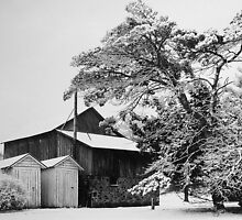 Barn in Snow by Nikanon