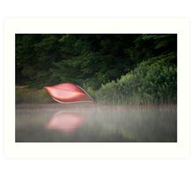 Red Canoe in the Mist Art Print