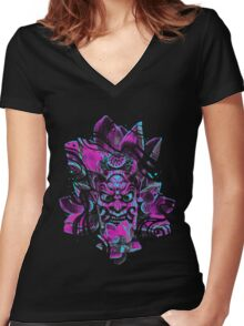ONI MASK Women's Fitted V-Neck T-Shirt