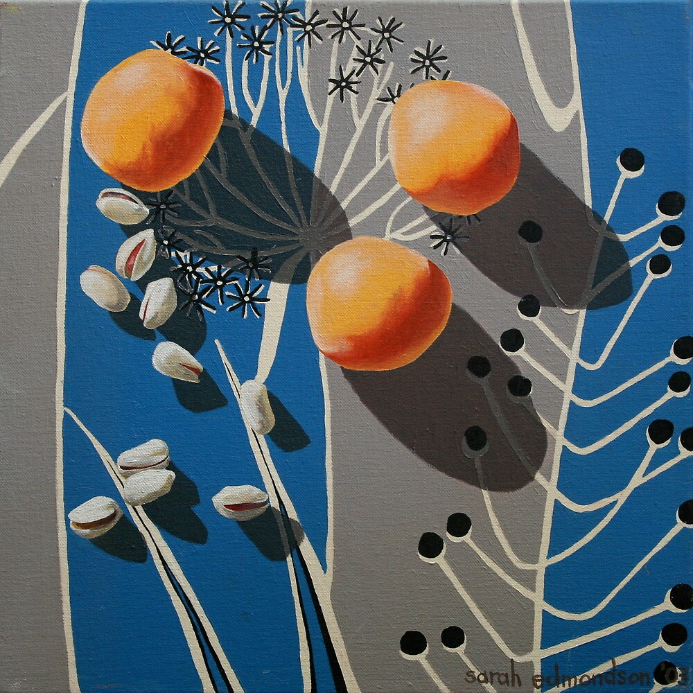 Apricots and Pistachios on Vintage Blue and Grey Fabric by Sarah  Edmondson