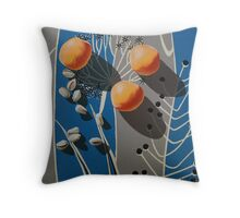 Apricots and Pistachios on Vintage Blue and Grey Fabric Throw Pillow
