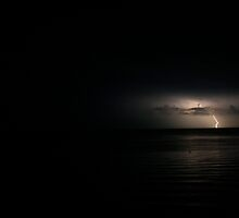 Lightening Strike on Long Island Sound by Emily  Lane
