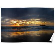 fingal lightshow at fingal beach Poster